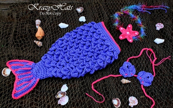 Crocheted Mermaid tail,tiara, seashell top..Crocodile stitch mermaid set.