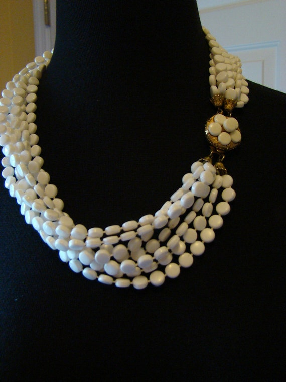 Bridal Multistrand Necklace, 7 Strands of Beads, Goldtone Clasp, 22 inches, Gorgeous