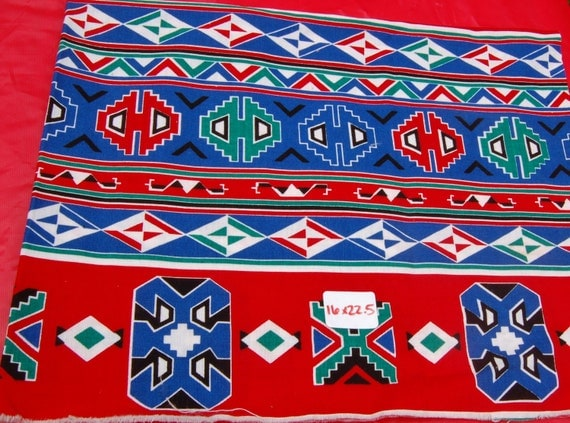 Ikat Fabric Piece-Red, White, Blue, and Green16 Inches by 22.5 Inches