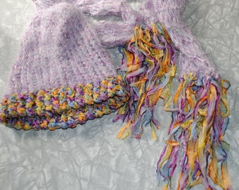 girls lavender and multicolored hat and scarf