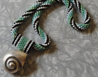 silver shell bead crocheted necklace (#3)