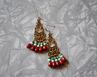 Gold filagree Mexico earings