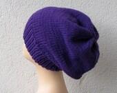 Plum Purple Knitted Slouchy Dread Tam Beanie Hat