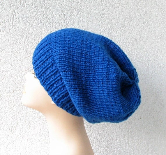 Blue Oversized Knitted Slouchy Beanie Hat