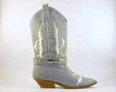 Vintage Cowgirl Boots by Circle S in Pastel Blue-Gray for Women's Size 8 - Cowboy Boots with Studs and Removable Strap
