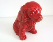 Red Painted Spaniel Dog Figurine Upcycled Home Decor