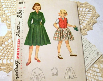 1950s Simplicity Dress Suit Pattern - Girl's - 3081 - Size 10 - Complete