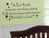 A New Little Someone Sent from Above Boy and Girl Room Kid Baby Nursery Vinyl Quote Art Decoration Wall Lettering Decal Sticker Decor K79