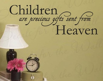 Children Precious Gifts Sent From Heaven Boy and Girl Room Kid Baby Nursery Wall Decal Decor Vinyl Quote Sticker Art Decoration K04