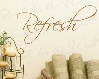 Refresh Inspirational Home Motivational Bathroom Large Wall Saying Quote Design Decal Decoration Lettering Sticker Vinyl Decor Art W8