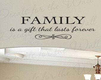 Family a Gift Lasts Forever Love Home Large Wall Decal Vinyl Quote Saying Lettering Decoration Sticker Decor Art Mural F86
