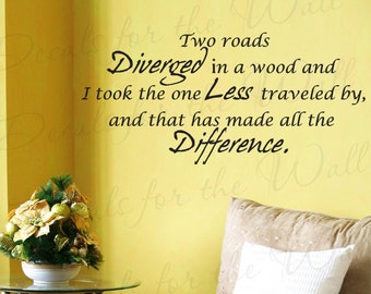 Two Roads Diverged Wood Robert Frost Inspirational Motivational Wall Decal Quote Vinyl Sticker Art Lettering Decor Saying Decoration IN56