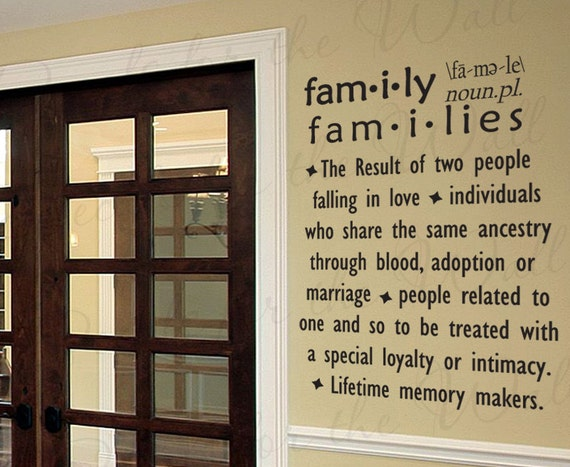 Family Definition Dictionary Love Home Wall Decal Decor Saying