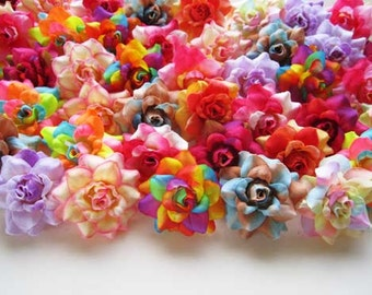 100 Mix color mini Roses Heads - Artificial Silk Flower - 1.75 inches - Wholesale Lot - for Wedding Work, Make Hair clips, headbands, hats