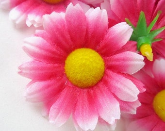 12 Red with White Edge Gerbera Daisy Heads - Artificial Silk Flower - 1.75 inches - Wholesale Lot - for Wedding work, Make Hair clips