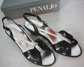 vintage 80s 90s leather sandals - Summer Romance Penaljo black silver wedge in box sz 8/9 cocktail party leather