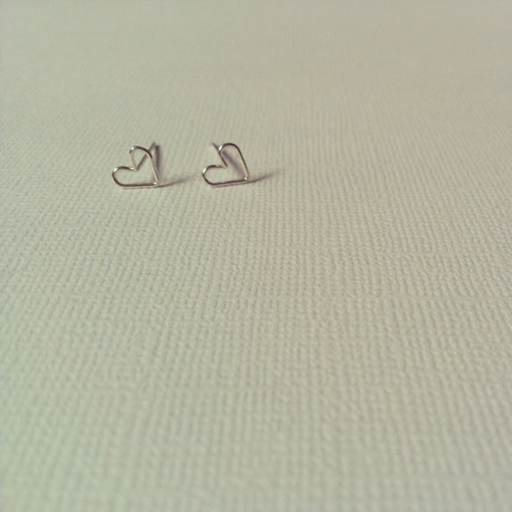Tiny Heart Shaped Stud Earrings- Sterling Silver