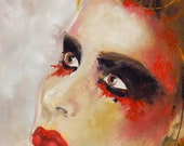 """Portrait of a woman, 24x48"""", Large Painting, Original painting, Unique Oil art, art, Etsy, Ready To Hang - Identity 8"""