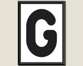 Typography Giclee Print Monogram Initial Wall Art Zarista Letter G