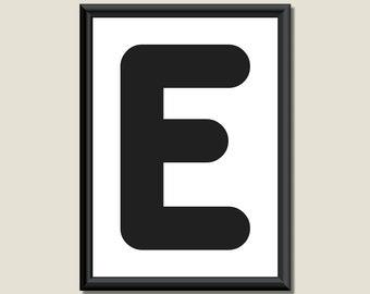 Typography DIGITAL PRINT Monogram Initial Wall Art Zarista Letter E 5x7