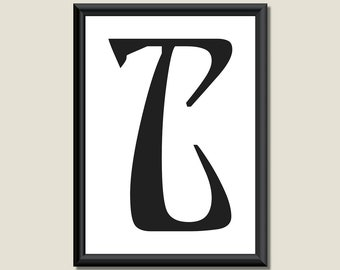 Typography Giclee Print Monogram Initial Wall Art Ariosto Letter T