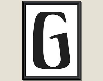 Typography Giclee Print Monogram Initial Wall Art Ariosto Letter G