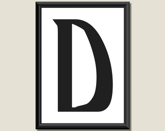 Typography Giclee Print Monogram Initial Wall Art Ariosto Letter D