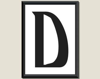 Typography DIGITAL PRINT Monogram Initial Wall Art Ariosto Letter D 5x7