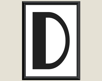 Typography DIGITAL PRINT Monogram Initial Wall Art Boogie Nights Letter D 5x7