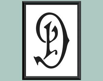 Typography DIGITAL PRINT Monogram Initial Wall Art Carmencita Letter D 5x7