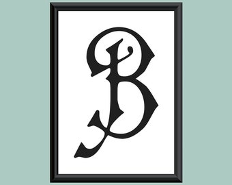 Typography DIGITAL PRINT Monogram Initial Wall Art Carmencita Letter B 5x7
