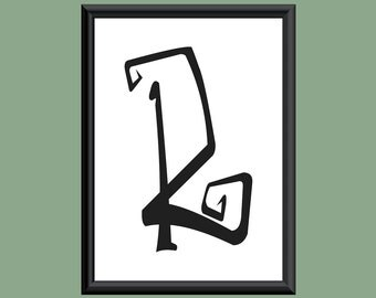 Typography Giclee Print Monogram Initial Wall Art Farewell Eternity Letter R