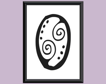 Typography Giclee Print Monogram Initial Wall Art SpaGirl Letter O