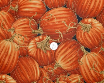 Pumpkin Patch with Gold - Fabric By The Half Yard 18 inches x 42 inches