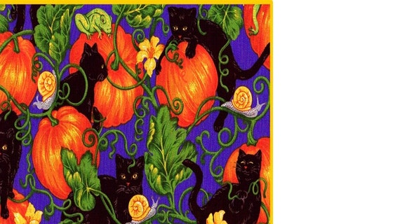 Lucky Black Cats in the Pumpkins Cat Fabric Out of Print Kitty Halloween orange black blue green spooky FQ