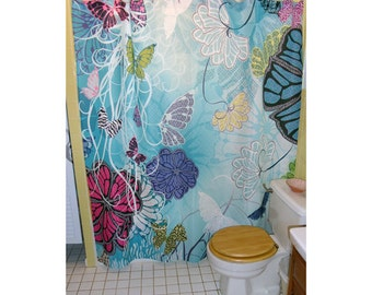 "Shower Curtain - ""Butterfly Blooms"""