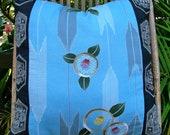 "Handmade cotton pillow cushion from unused vintage Japanese kimono fabrics in blue, indigo blue, grey. Arrow and crest symbols 50cm 20"""