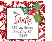 Red Damask Holly Preppy Christmas Labels Stickers, Address Labels, Preppy Labels, Bookplate, Class Parties