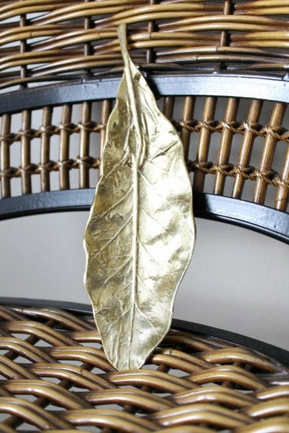 Vintage Brass Tobacco Leaf