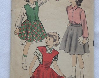 Vintage 1950's Sewing Pattern For Girl's Skirt, Jumper, and Blouse