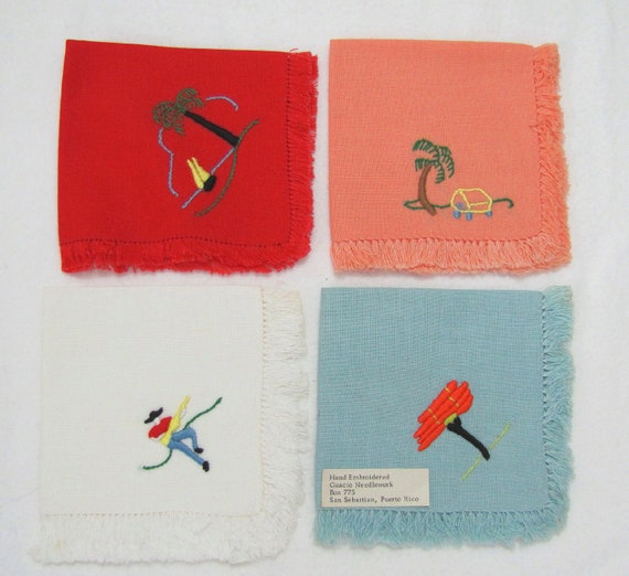 Vintage 1960s Hand Embroidered GUACIO NEEDLEWORK colorful napkins, Puerto Rico