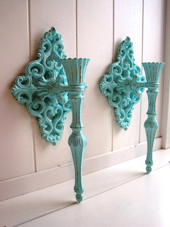 Aqua / Gold / Wall Sconces / Turquoise / Shabby Sheik / Pair / Set Candleholders / Vintage / Distressed