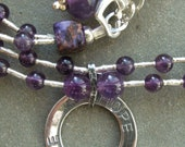 Chakra Jewelry Amethyst Beaded Double Strand Necklace With Sterling Silver Circle of Hope Charm Feb Birthday