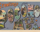a 'Greetings From POCONO MTS. PA.' Vintage, Linen, Used and Stamped Postcard from the 1940s. Stroudsburg Glass, Co., Metrocraft