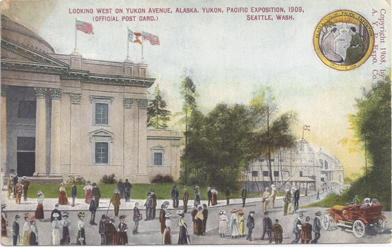 ALASKA-YUKON-PACIFIC Exposition, Looking West on Yukon Avenue, Alaska, Pacific Exposition, 1909, Seattle, Wash., Official Postcard
