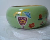 Green Wood Bangle Bracelet with Fruits & Drinks Design Hand painted