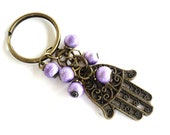Hamsa Keychain Bag Charm Keyring Protection Yoga Accessories Purple Valentines Mothers Day Unique Gift Under 10 Item J46