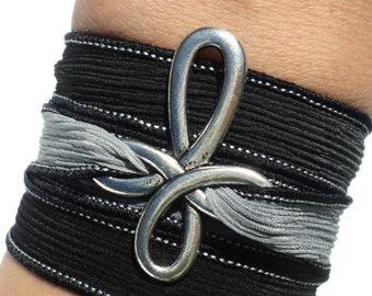 Cross Silk Wrap Bracelet Black Gray Bohemian Yoga Jewelry Necklace Christmas Stocking Stuffer Unique Gift For Her Under 50 Item W31