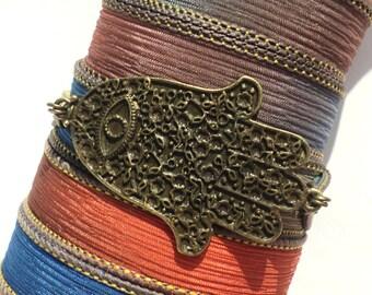 Bohemian Hamsa Silk Wrap Bracelet Evil Eye Yoga Jewelry Necklace Christmas Stocking Stuffer Unique Gift For Her Under 50 Item J52