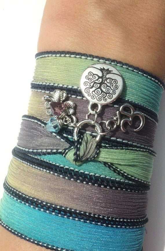 Tree of Life Silk Wrap Bracelet Om Jewelry Yoga Namaste Mother Nature Earthy Necklace Unique Christmas Gift For Her Under 50 Item S91